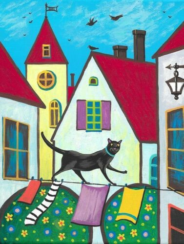 1.5x2 DOLLHOUSE MINIATURE PRINT OF PAINTING RYTA 1:12 SCALE BLACK CAT ABSTRACT