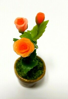 Orange Roses  Clay Flower Pot Dollhouse Miniature Collection Home Decor Gift