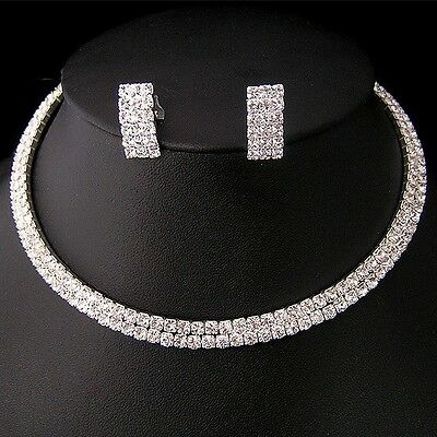 NR02 Party Wedding Bridal Crystal Necklace Choker Earring GP Silver Jewelry Set.