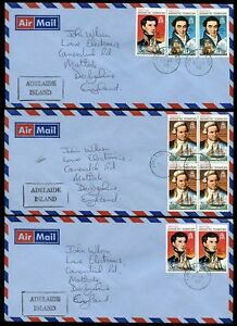 BRITISH-ANTARCTIC-TERRITORY-1973-ADELAIDE-ISLAND-9-stamps-on-3-COVERS