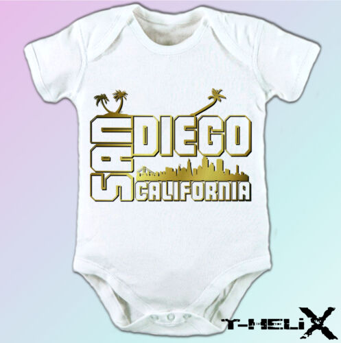 white t shirt top USA state country design mens womens kids /& baby San Diego