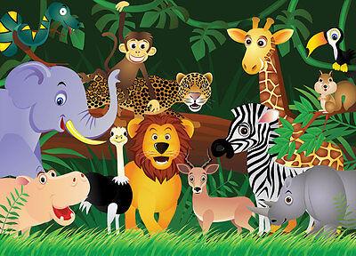 """Fornitura Carta Da Parati Per Bambini-animali Selvatici """"giungla"""" Murale Parete Per Bambini Room & Vivaio- Volume Grande"""