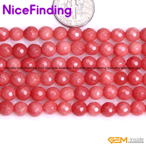 """Pink Opal Jade Faceted Loose Stone Beads For Jewellery Making 15/"""" Free Shipping"""