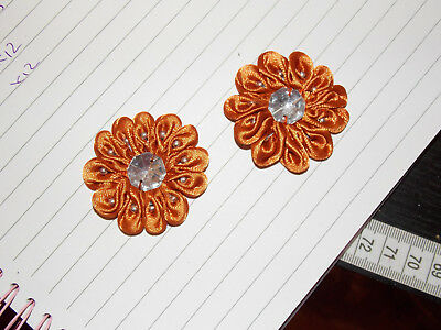 orange kids jewel flower 4.5cm children glue on Sew on Applique Motif Patch trim
