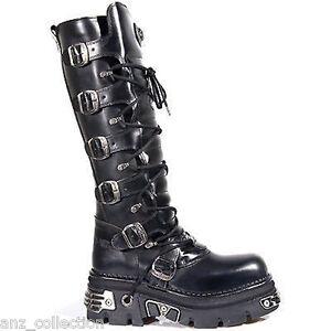 Newrock-New-Rock-272-Metallic-Black-Goth-Knee-High-Zip-Boot-Leather-Buckle-Boots