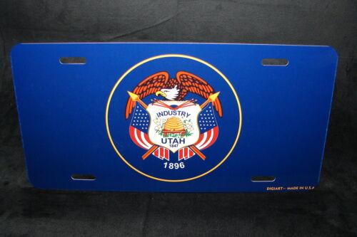 UTAH STATE FLAG METAL LICENSE PLATE TAG FOR CARS