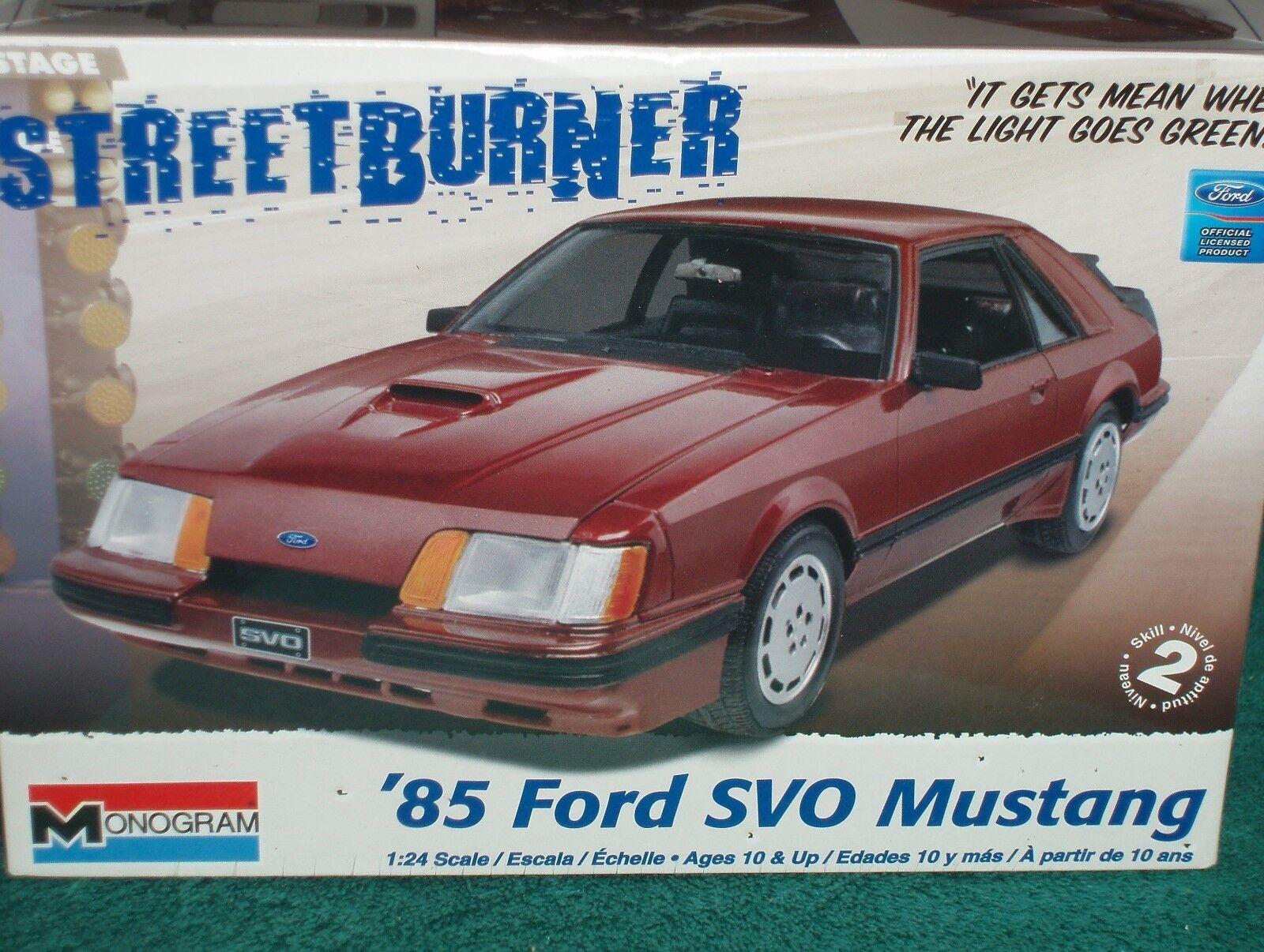 Monogram 1985 FORD MUSTANG SVO Kit Plastique Scellé 1 25 Skill 2  STREET BURNER