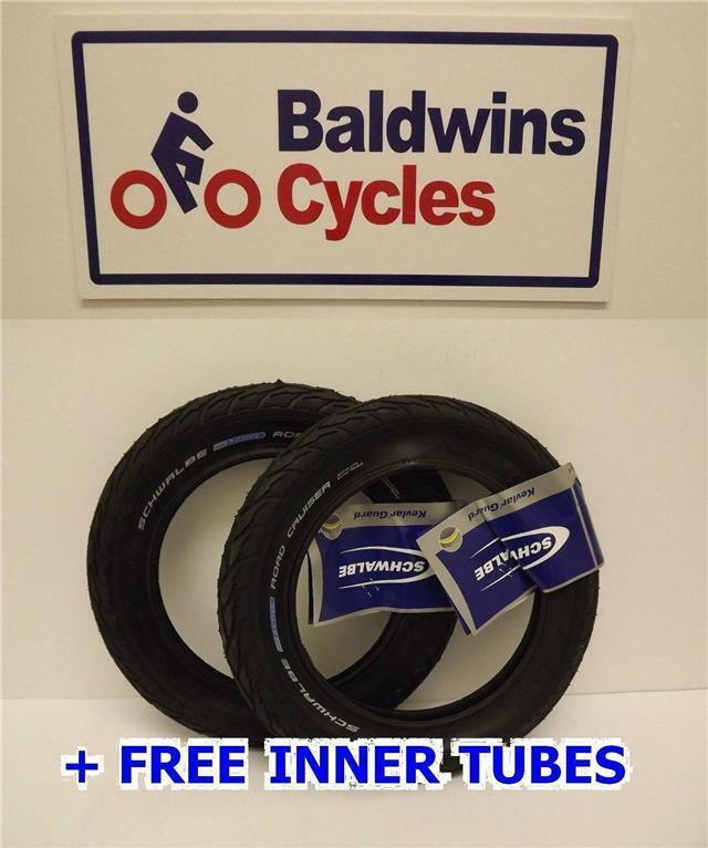 12  x 2.0 Schwalbe ROAD CRUISER Puncture Resistant Pram   Bike Tyres + FREE TUBE