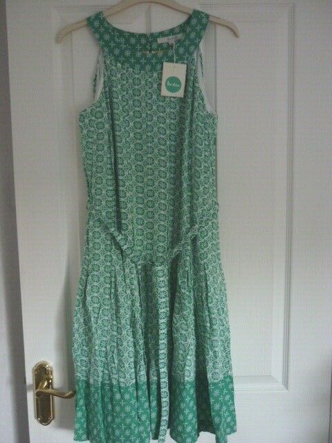 BODEN FELICITY DRESS Grün IVORY HOTCHPOTCH. UK 12 R, EUR 38-40, US 8. WH803 NWT