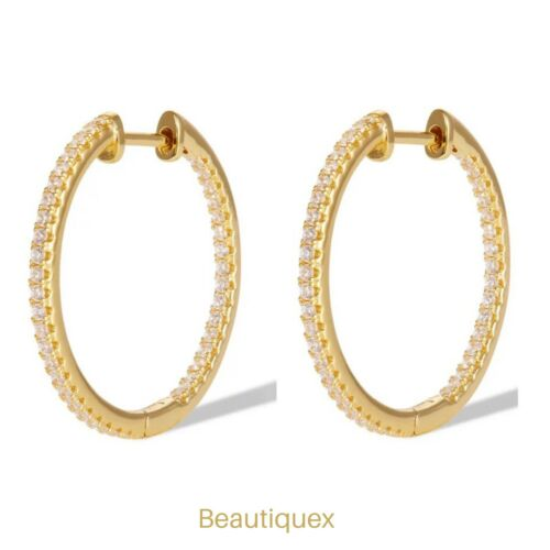 Gold Filled CZ Hoops Inside Out Micro Pave earrings for her 22mm Gift Earrings