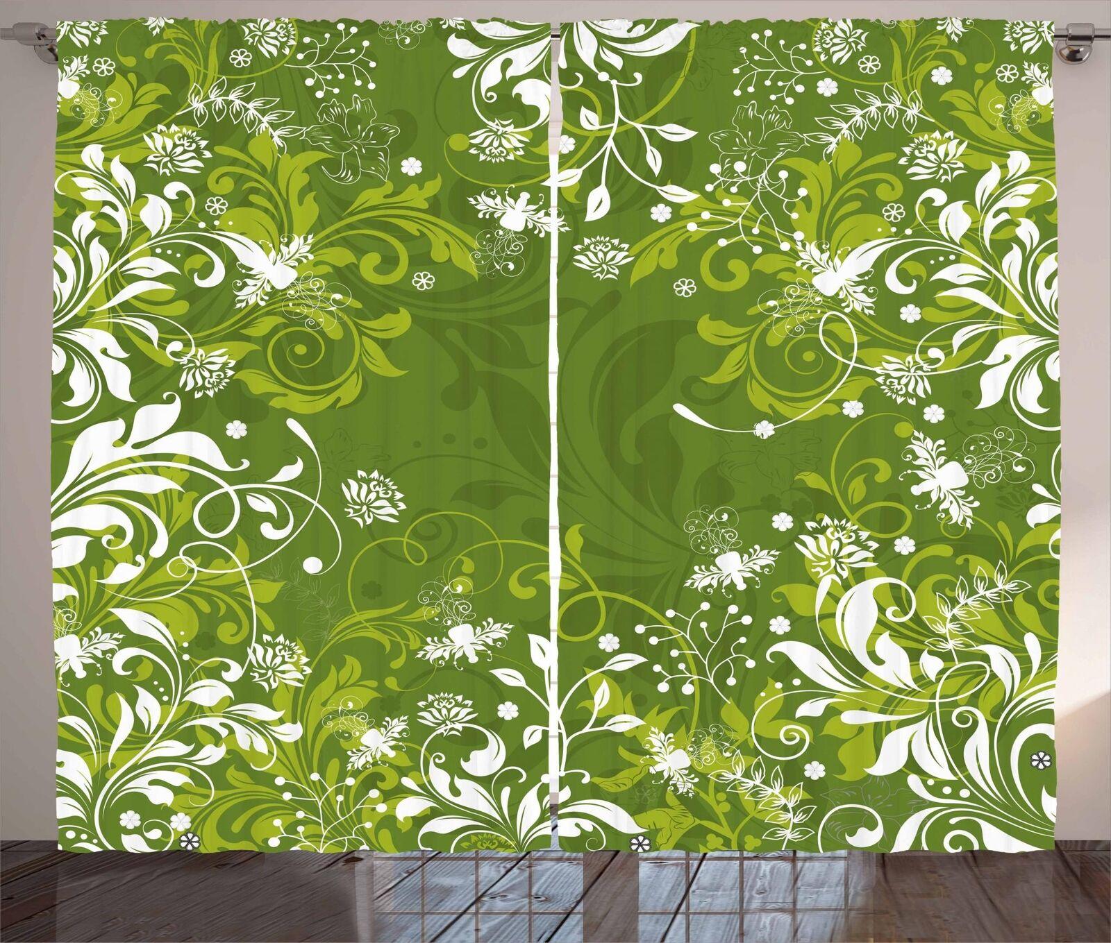 Cortinas verde 2 Conjunto De Panel Decoración Hogar 5 Tamaños Disponibles Ventana Cortinas