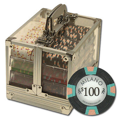 New 600 Milano 10g Clay Poker Chips Set with Acrylic Case Pick Chips!