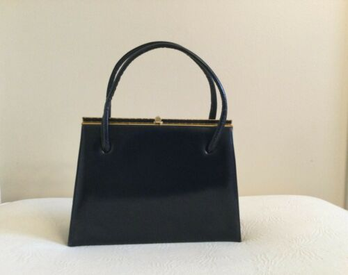 VTG Auth. 1960's MARCHIONESS Navy Leather Satchel