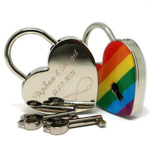Liebesschloss Herz individuelle Gravur regenbogen Geschenkverpackung 2 Schlüssel