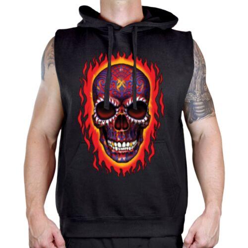 Men/'s Fire Sugar Skull Black Sleeveless Vest Hoodie Workout Fitness Gym Biker