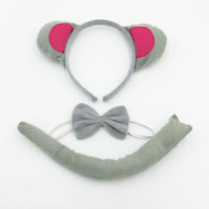 Mouse-Rat-Animal-Headband-Ears-Tail-Bow-Tie-Set-Costume-Fancy-Dress-Party-New