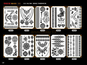 Waterproof Temporary Tattoos Paper Black White Lace Pattern Body