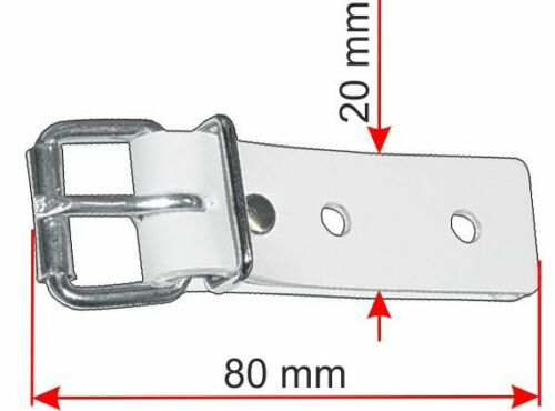 Schnallkappe weiss mit geschweißter Rollschnalle ohne Schonunterlage