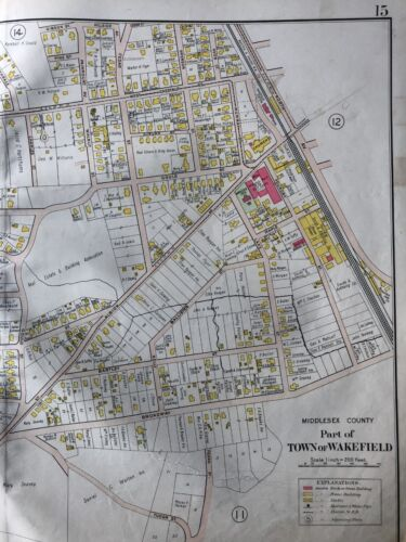 1906 WAKEFIELD MIDDLESEX COUNTY MA MONTROSE CHARLES WINSHIP HOUSE ATLAS MAP