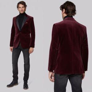Men Burgundy Velvet Blazer Tuxedos Black Lapel Groom Dinner Wedding Suit Jacket Ebay
