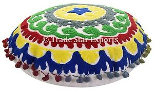 Indian-Suzani-Pillow-Cover-Ethnic-Embroidered-Home-Decor-Decorative-16-034-Cushions