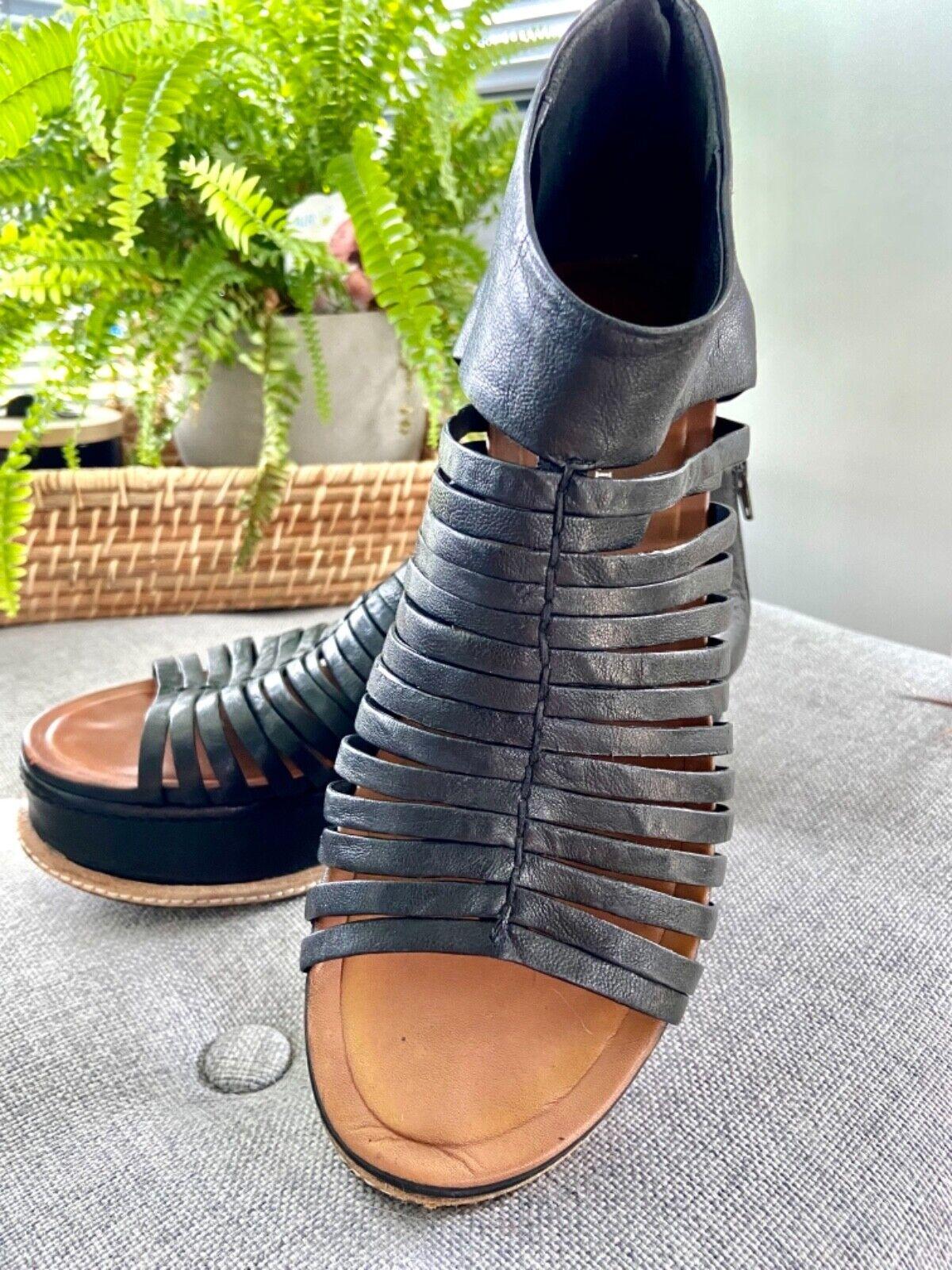 Roberto Durville women's Black leather platform peep toe comfortable shoe with