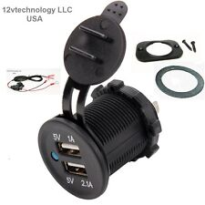 Waterproof Dual USB Charger Socket Power Plug Outlet 3.1 A Dash Mount w/ Wires.