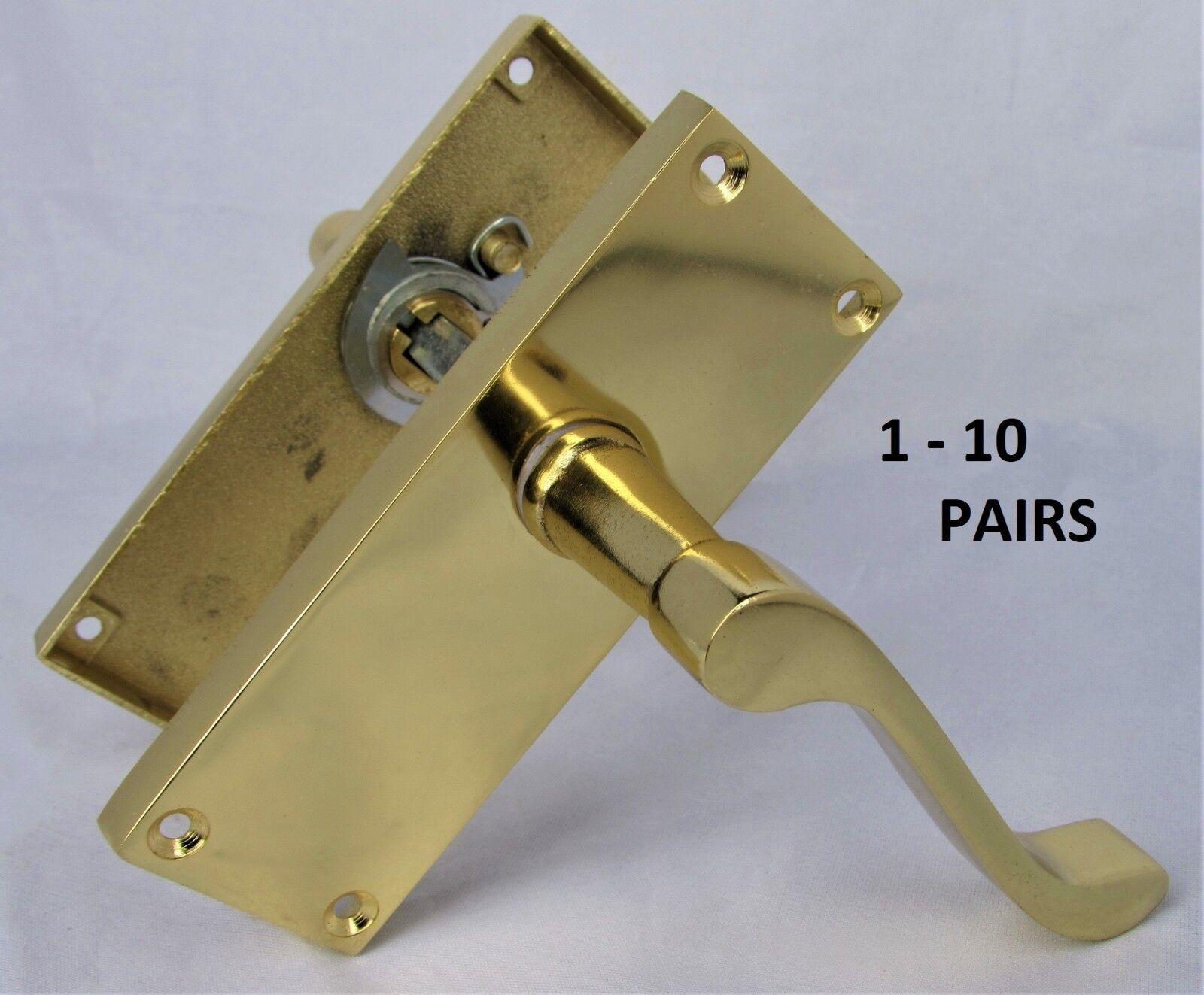 Modern Victorian BRASS Scroll Door Handles Latch Handles Stylish Handles D3