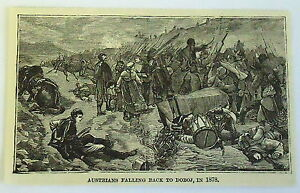 Piccolo-1883-Rivista-Incisione-Austrians-Cadendo-dietro-a-Doboj-Bosnia