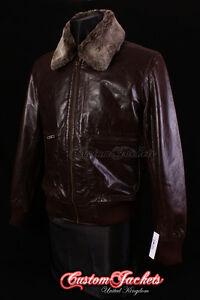 Men/'s HAWK Brown Jet Fighter Bomber Pilot Flight Cockpit Short Leather Jacket