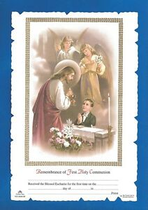 FIRST-HOLY-COMMUNION-Certificate-Jesus-with-BOY-amp-angels-Catholic-picture-Italy