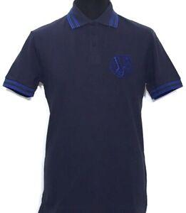 VERSACE-JEANS-da-Uomo-Polo-Maglia-Polo-Blu-Scuro-Blu-Blue-Blau-PIQUET-NUOVO-Etichetta