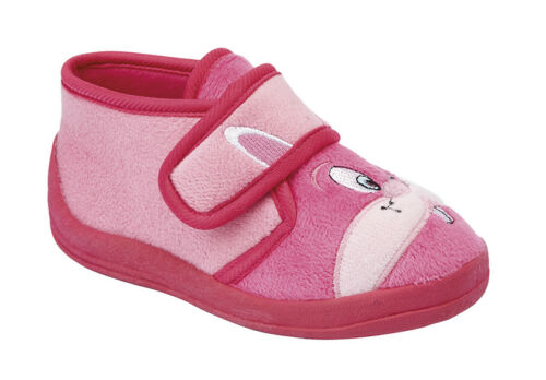 baby girls new velour touch fastening bootee slippers pink boxed size 4-10