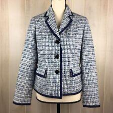 Talbots Women's Blue Tweed Knit Career Work Grace Fit Jacket Blazer 10P Petite