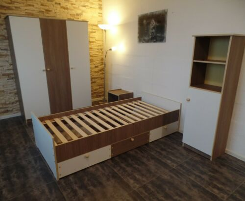 Kinderbett Jugendbett  Kojenbett  Funktionsbett Einzelbett 90x200 cm  Weiß-Braun