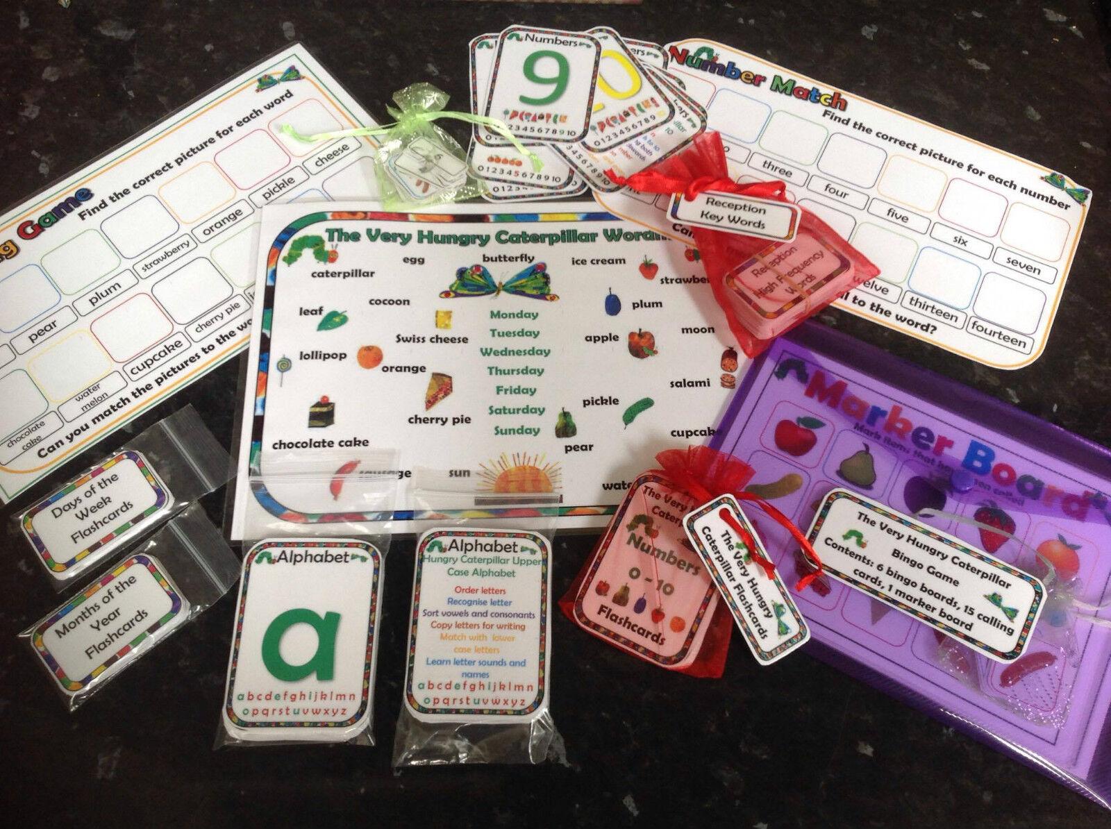 Caterpillar risorse-Bingo, Contare, Numeri, parole, corrispondenza eyfs
