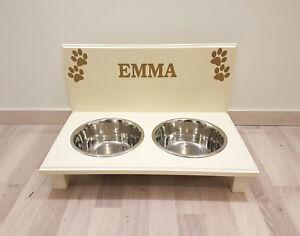 Bol pour chien, armoire, barre alimentaire, porte-gobelets 2 bols, crème / or. Noms souhaités (84e)