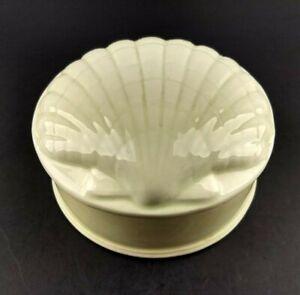 Vintage Ceramic Sea Shell Decorative Covered Trinket Jewelry Ring Powder Box
