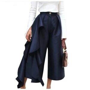 Gorgeous Silky Navy Blue Dramatic Side Ruffle Flare Leg Capri Pants C65