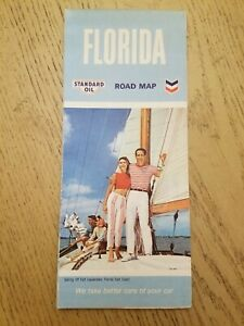 NOS VTG 1966 Chevron Standard Gas Oil Florida State Highway Road Map Pictorial