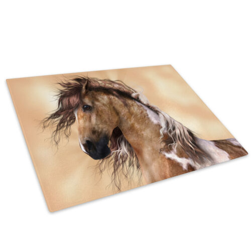 Brown White Horse Grey Glass Chopping Board Kitchen Worktop Saver Protector