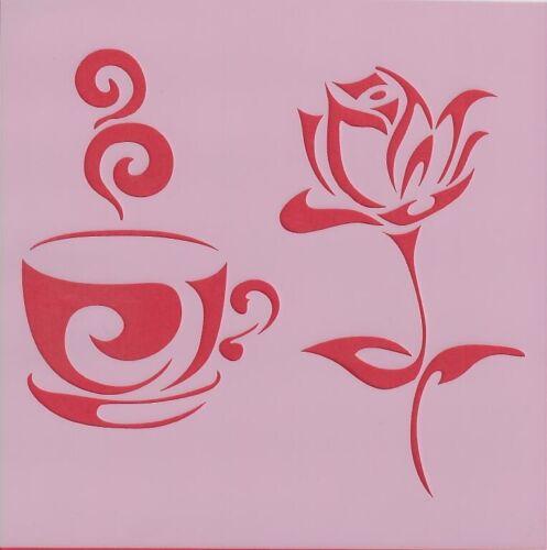 caffè rottami prenotazione Cappuccino ROSE DECOUPAGE-C016 13cmx13cm Stencil