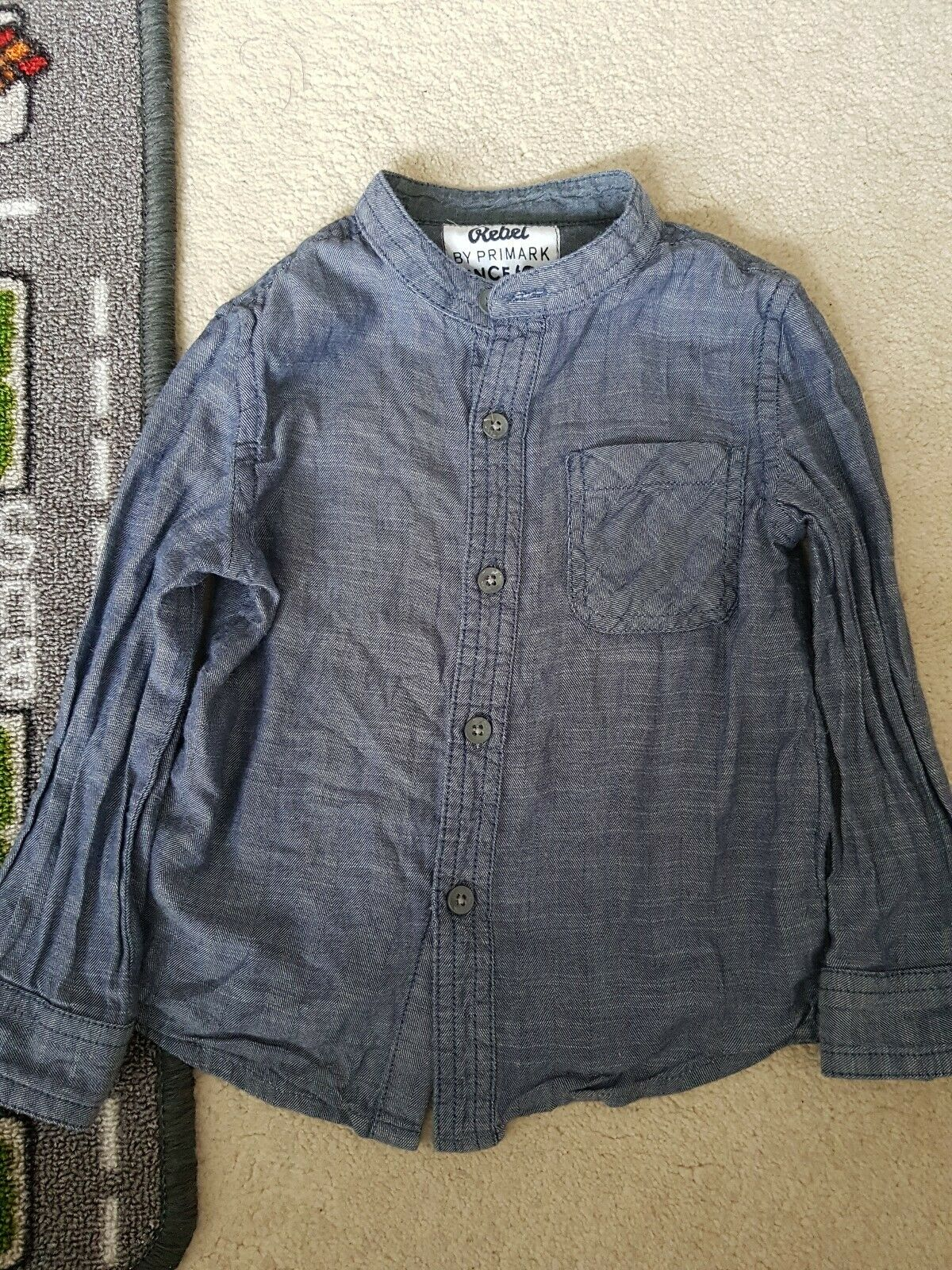 Blue Collarless Shirt Boys Size 2-3 Years Free P&P