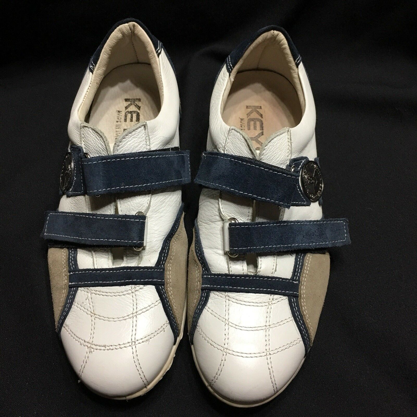 KEYS Italian Leather Womens Shoes Size 9 Made In Italy Hook and Loop
