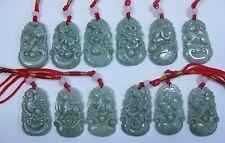 Natural verde jade tallada Zodiaco Chino 12 (doce diferentes animales) Colgante