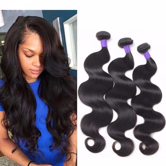 8A Brazilian Hair Body wave Human Hair Extensions Black Weft 3Bundles/150g