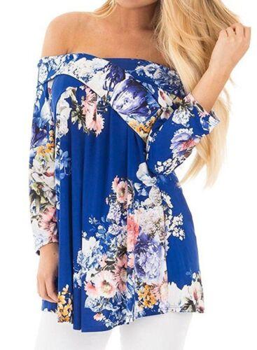 Women Floral Print Blouse Off Shoulder Tops 3//4 Sleeve Casual Plus Size T Shirt