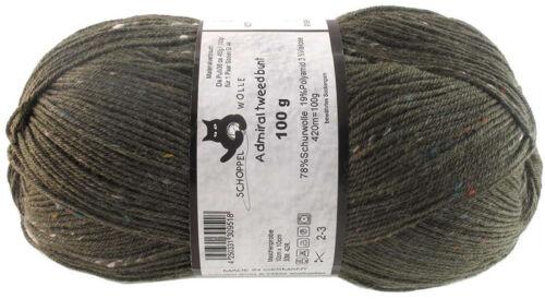 Admiral tweed bunt Sockenwolle 100g Schoppel Fb 6271 Oliv