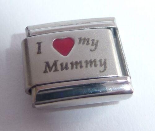 Red Heart 9mm fits Classic Starter Bracelets Mum I LOVE MY MUMMY Italian Charm