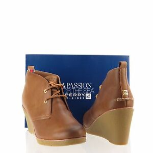 da448773c70 Womens Sperry Top-Sider Harlow Shoes Cognac Leather Ankle Wedge Boot ...